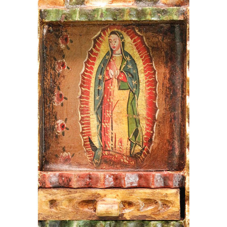 Guadalupe Virgin Colonial Peru Art Handmade Retablo Handcarved Altarpiece (71-100-04553)