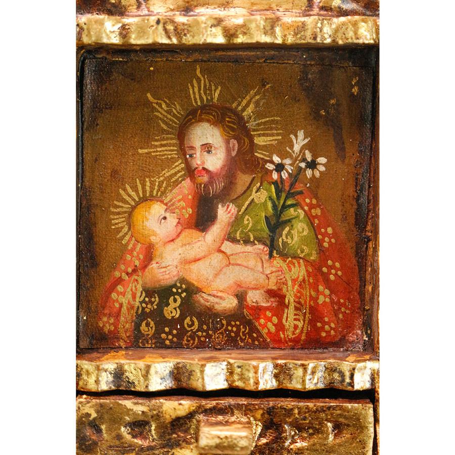 Saint Joseph and Child Colonial Peru Art Handmade Retablo Handcarved Altarpiece (71-021-04559)