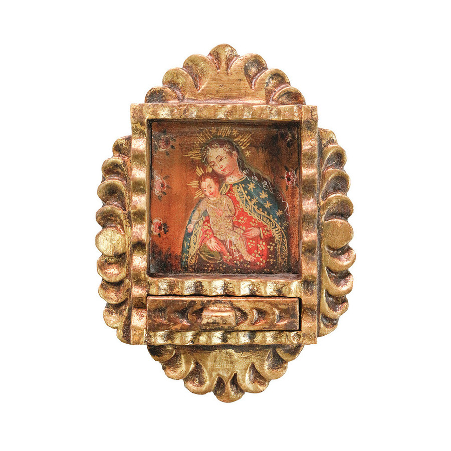 Virgin and Child Colonial Peru Art Handmade Retablo Handcarved Altarpiece (71-021-04560)