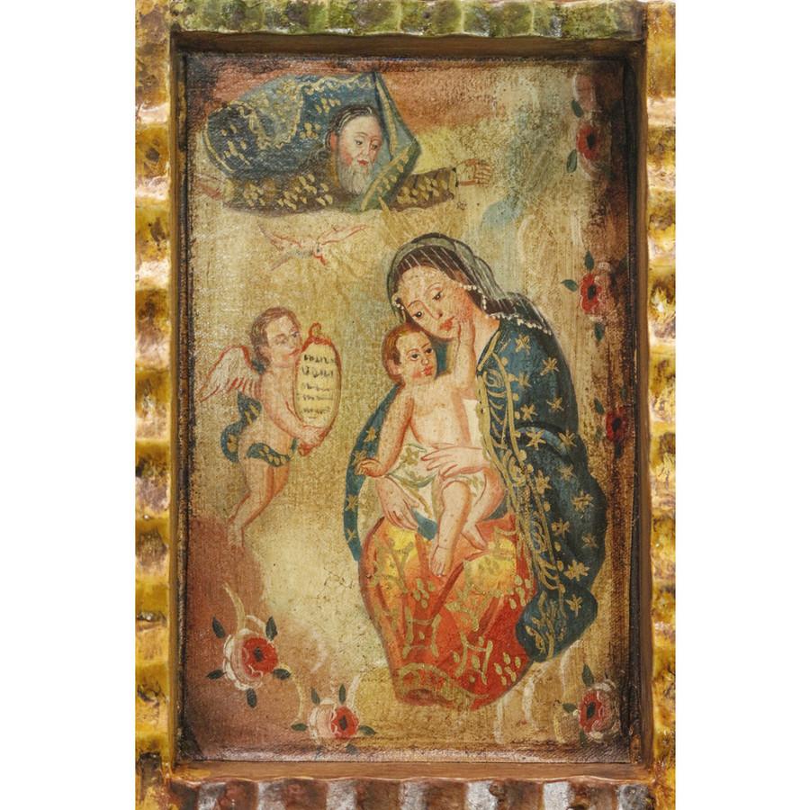 Virgin and Child Colonial Peru Art Handmade Retablo Handcarved Altarpiece (71-100-04561)