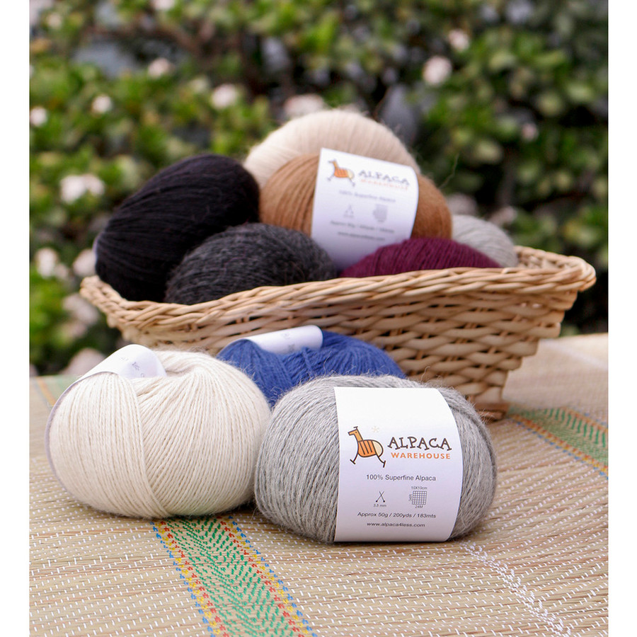 100% Alpaca Yarn Wool Set Of 3 Skeins Fingering Weight