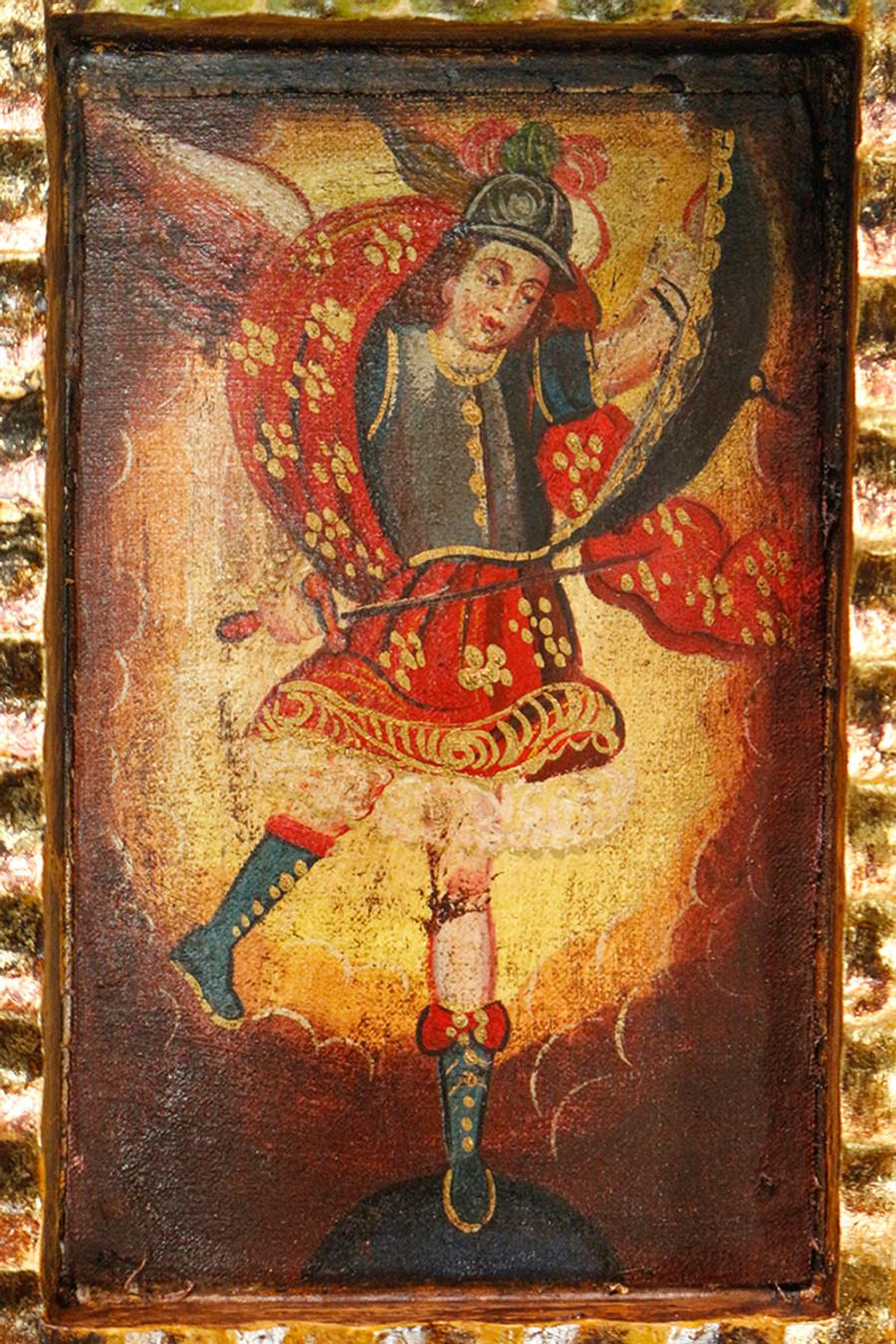 Archangel Michael Colonial Peru Art Handmade Retablo Handcarved Altarpiece