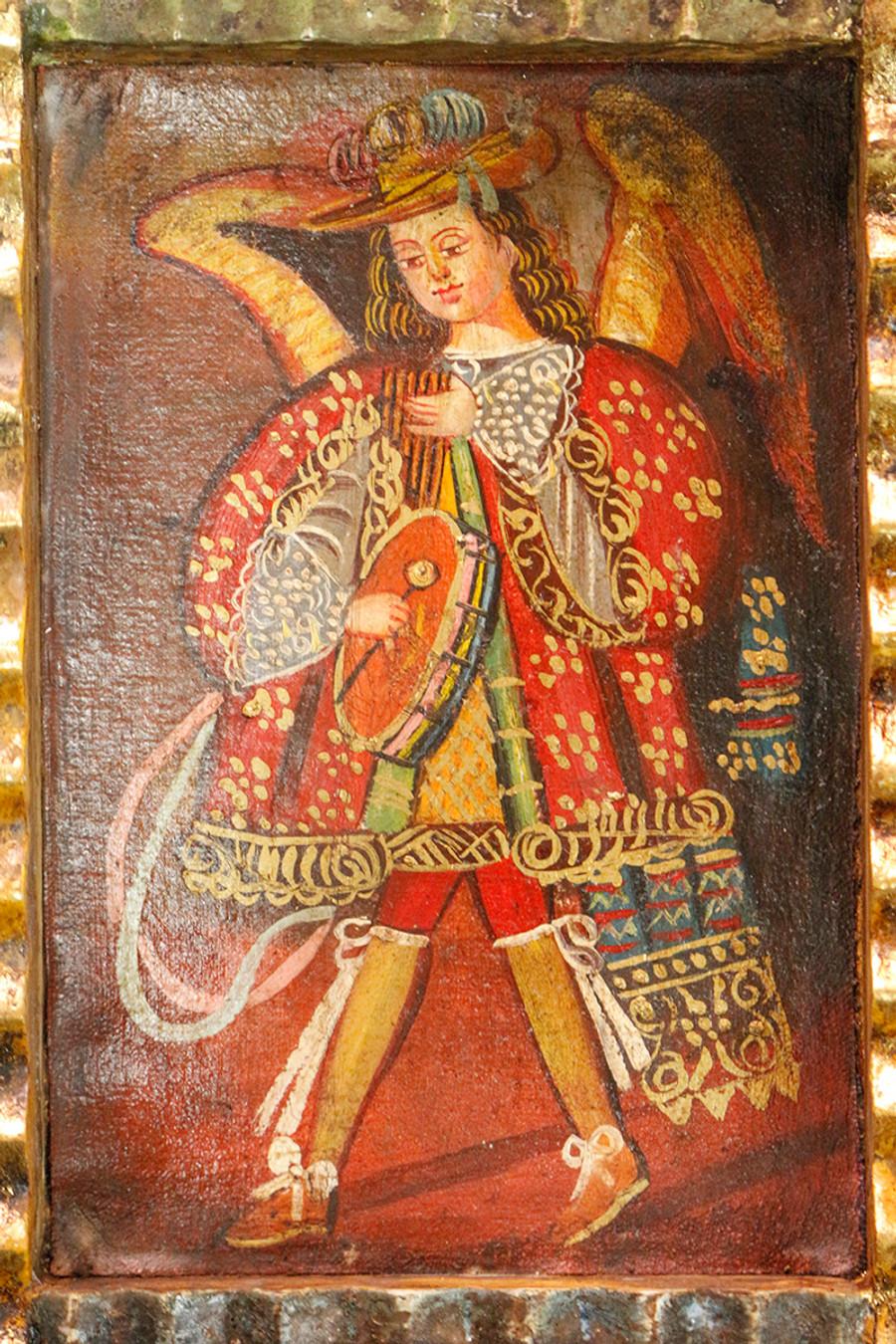 Musician Archangel Colonial Peru Art Handmade Retablo Handcarved Altarpiece