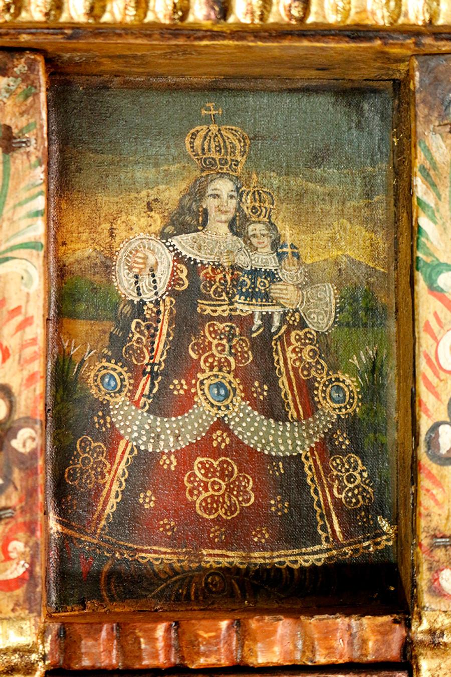 Rosary Lady Virgin Colonial Peru Art Handmade Retablo Handcarved Altarpiece