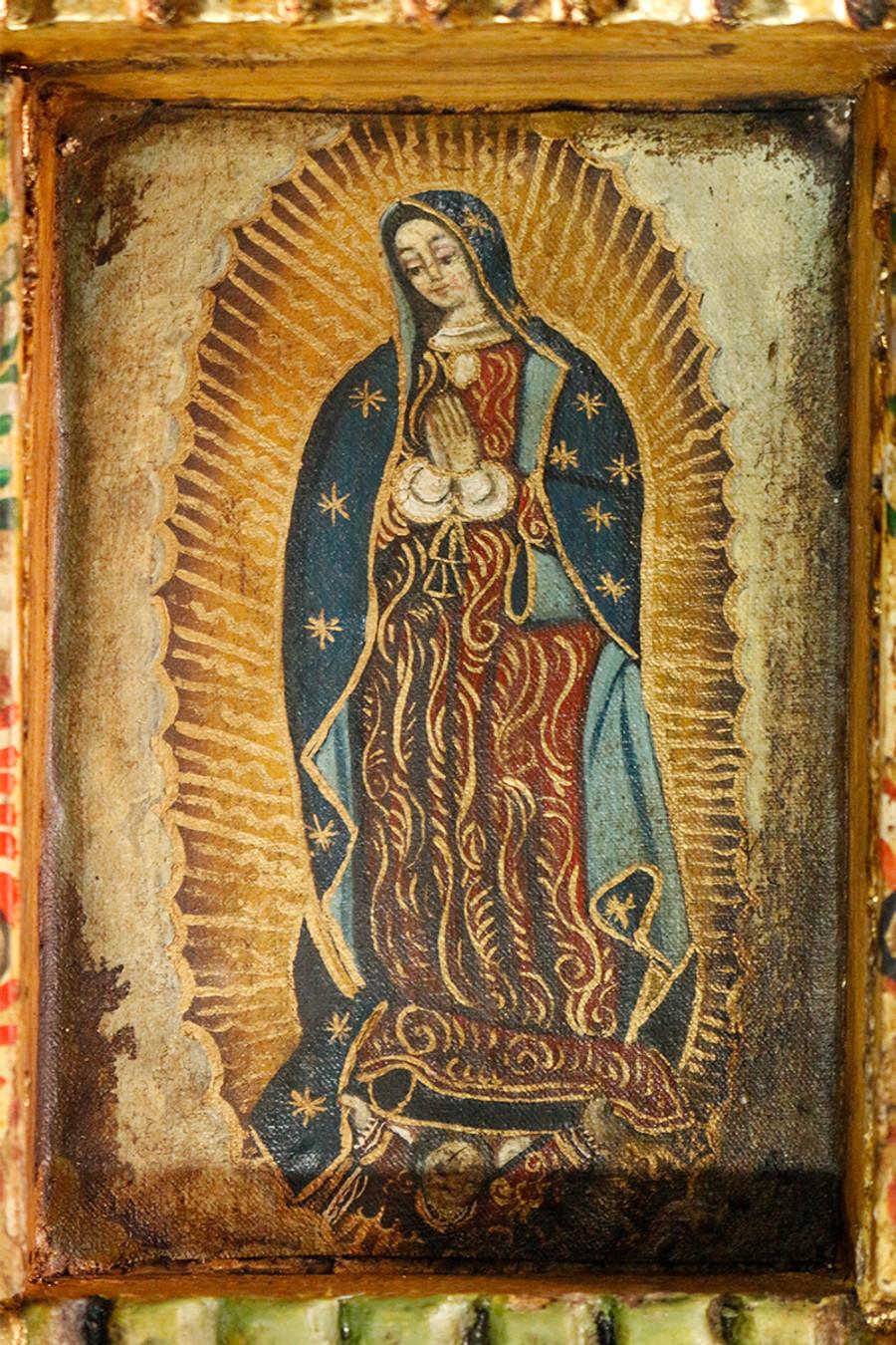 Guadalupe Virgin Colonial Peru Art Handmade Retablo Handcarved Altarpiece (4577)
