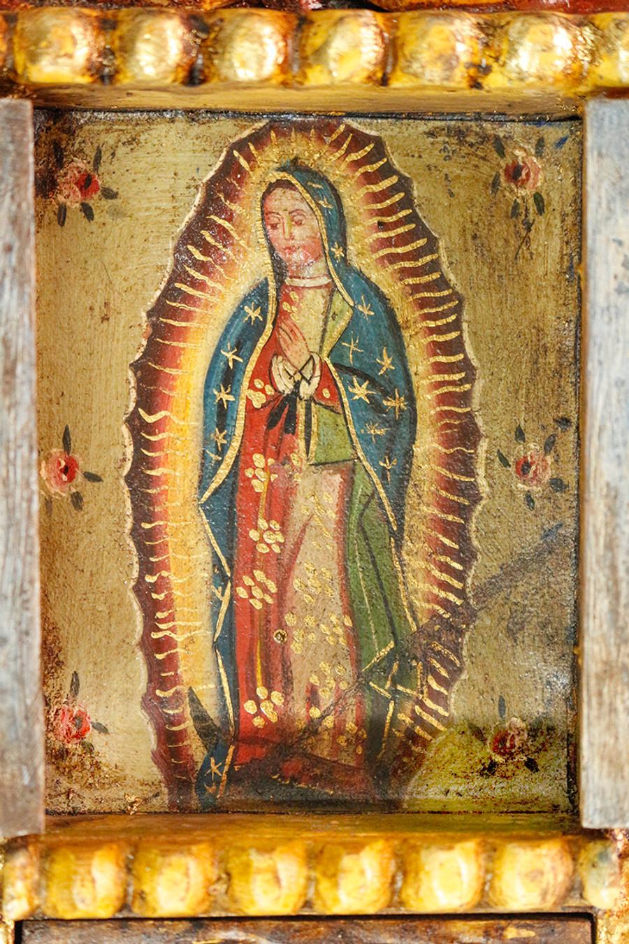 Guadalupe Virgin Colonial Peru Art Handmade Retablo Handcarved Altarpiece (4576)