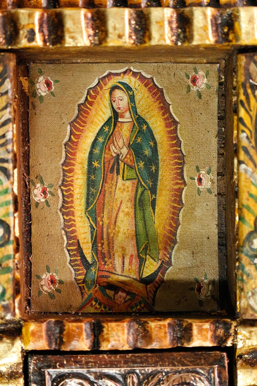Guadalupe Virgin Colonial Peru Art Handmade Retablo Handcarved Altarpiece (4575)