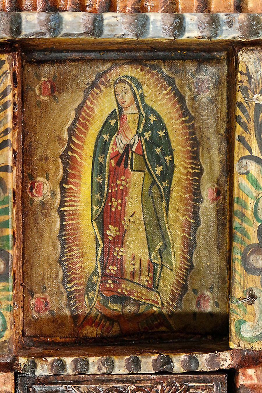 Guadalupe Virgin Colonial Peru Art Handmade Retablo Handcarved Altarpiece (4574)