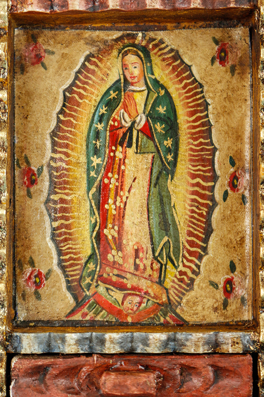 Guadalupe Virgin Colonial Peru Art Handmade Retablo Handcarved Altarpiece (71-100-04427)