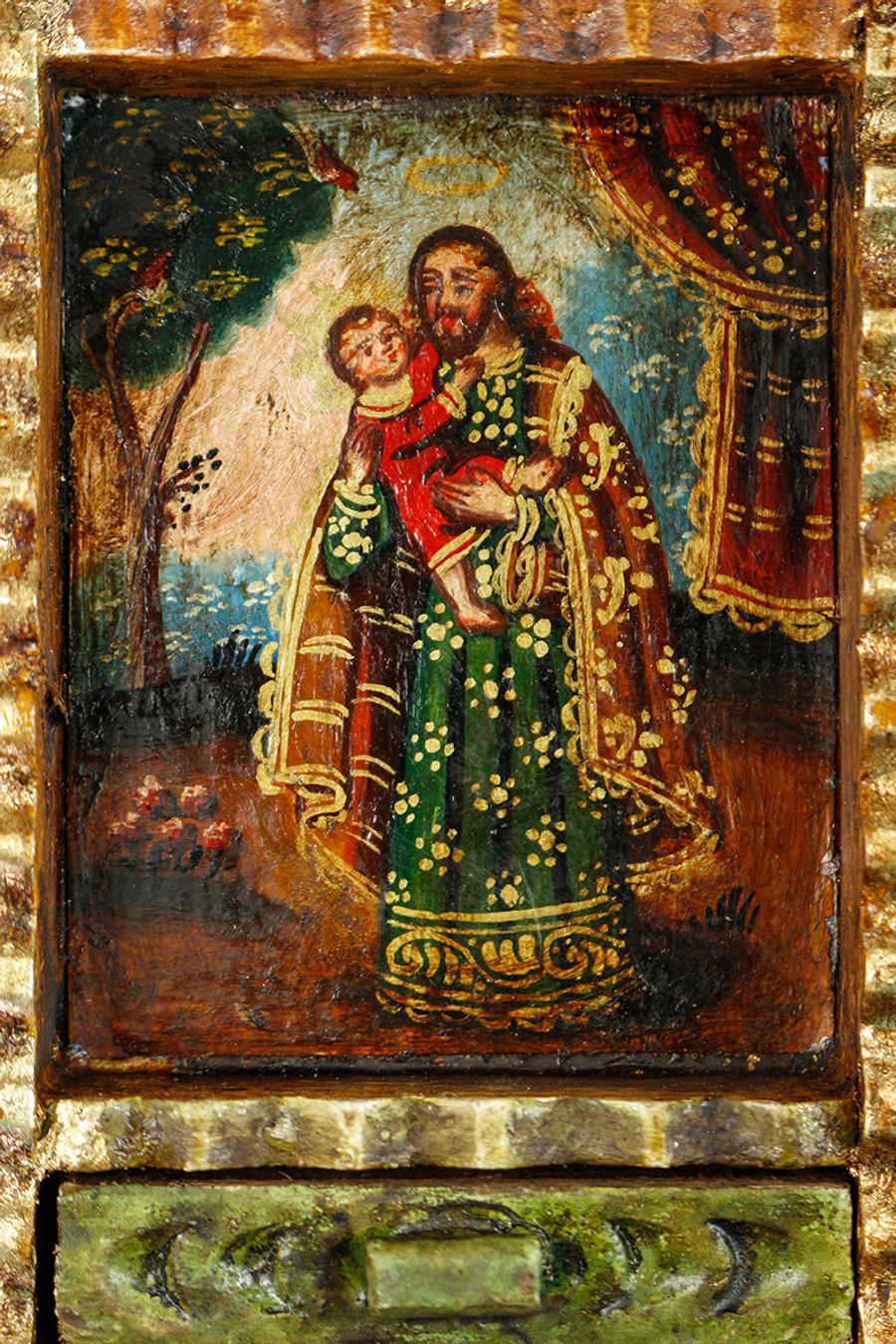 Saint Joseph and Child Colonial Peru Art Handmade Retablo Handcarved Altarpiece (71-100-04428)