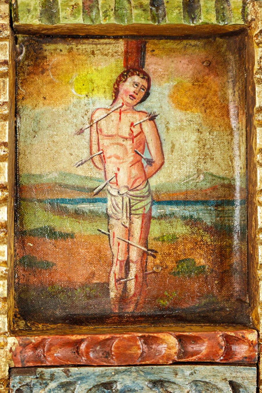 Saint Sebastian Colonial Peru Art Handmade Retablo Handcarved Altarpiece (71-100-04429)