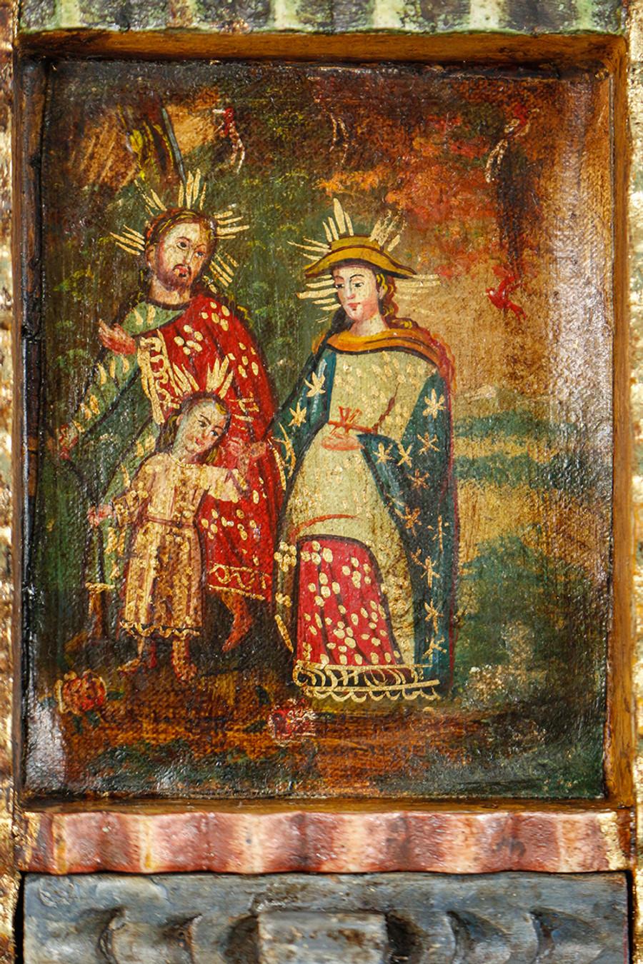 Holy Family Colonial Peru Art Handmade Retablo Handcarved Altarpiece (71-100-04431)