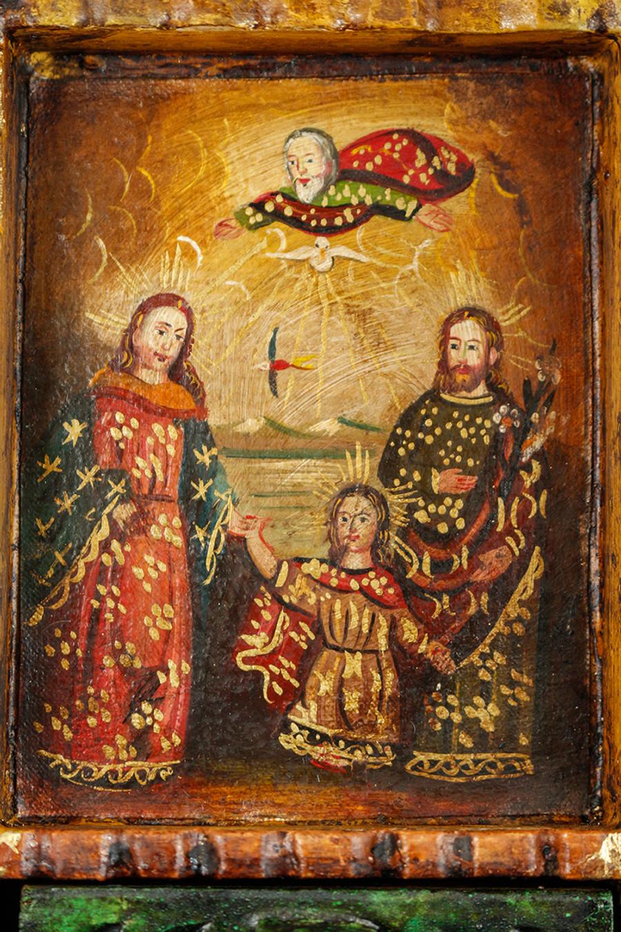 Holy Family Colonial Peru Art Handmade Retablo Handcarved Altarpiece (71-100-04432)