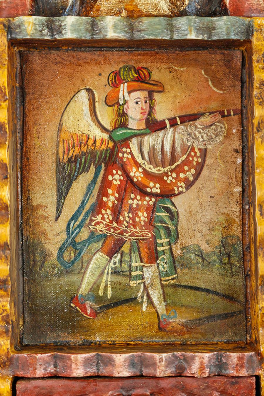 Military Archangel Colonial Peru Art Handmade Retablo Handcarved Altarpiece (71-100-04433)