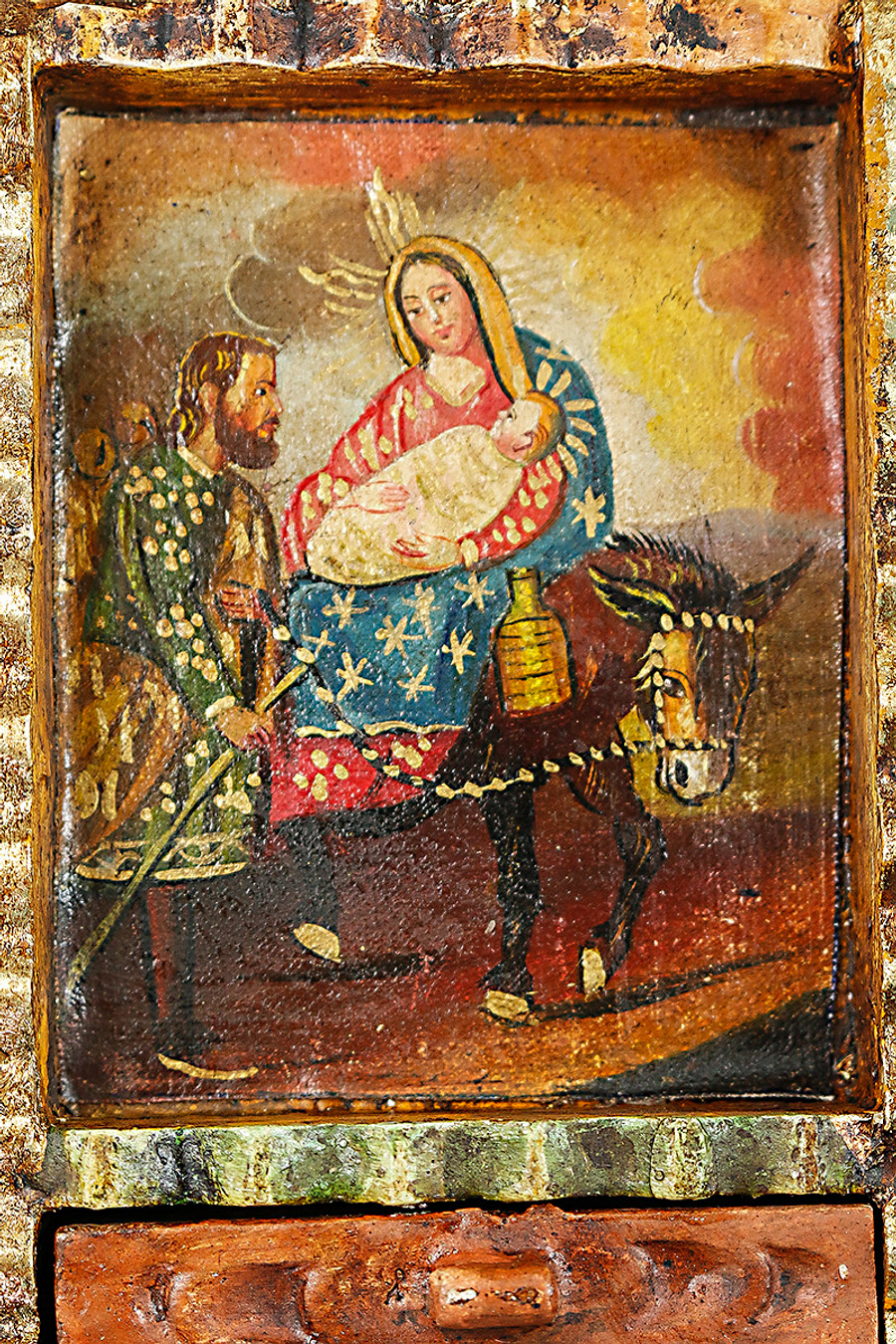 Flight from Egypt Colonial Peru Art Handmade Retablo Handcarved Altarpiece (71-100-04434)
