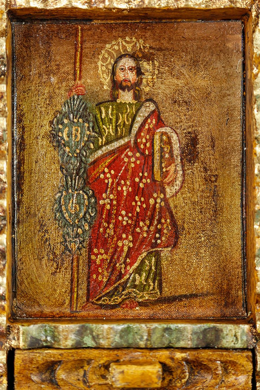 Saint Jude Colonial Peru Art Handmade Retablo Handcarved Altarpiece (71-100-04436)