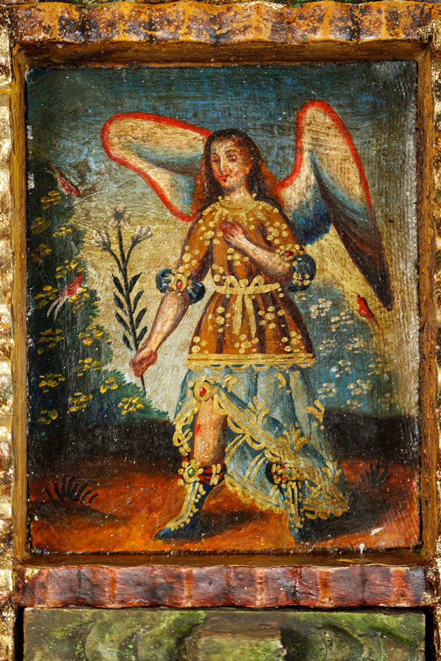 Archangel Gabriel Colonial Peru Art Handmade Retablo Handcarved Altarpiece (71-100-04437)