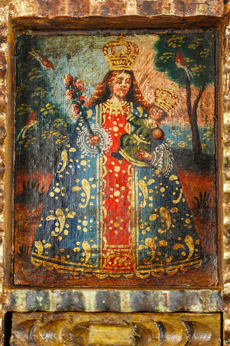 Virgin and Child Colonial Peru Art Handmade Retablo Handcarved Altarpiece (71-100-04438)