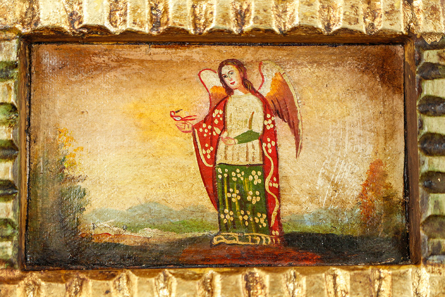 Angel of God Colonial Peru Art Handmade Retablo Handcarved Altarpiece (71-100-04439)
