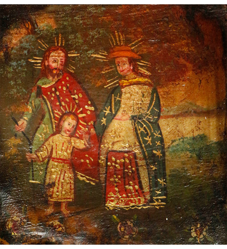 Sacred Family Colonial Peru Art Handmade Retablo Handcarved Altarpiece