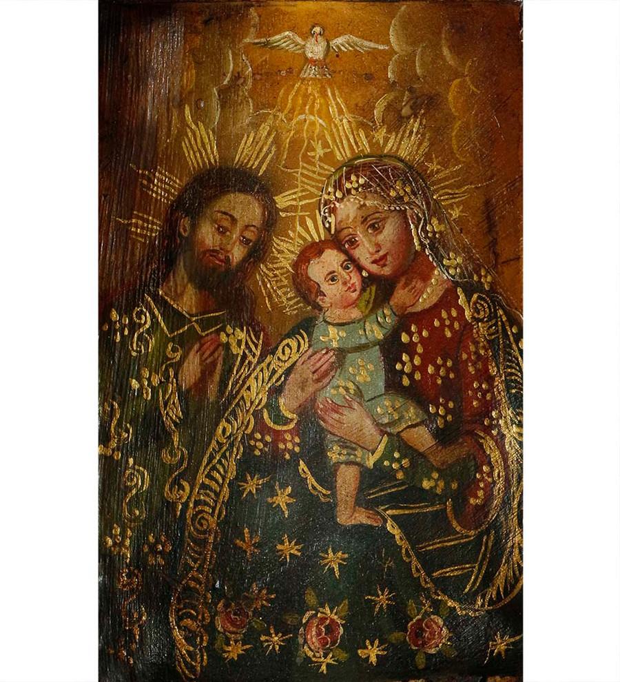 Sacred Family Colonial Peru Religious Handmade Retablo Handcarved Altarpiece