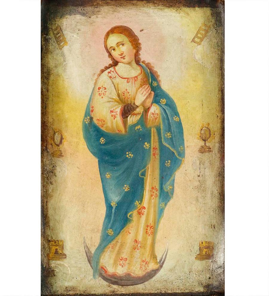 Immaculate Virgin Colonial Peru Religious Handmade Retablo Handcarved Altarpiece