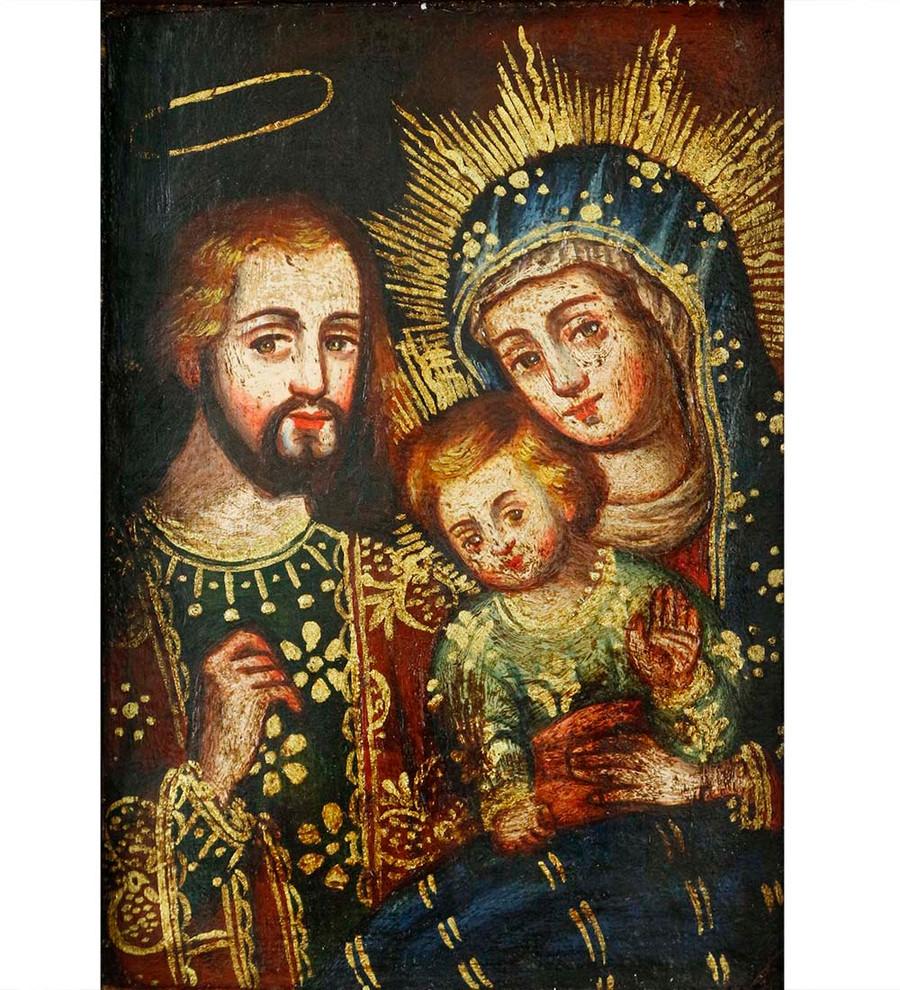 Sacred Family Colonial Peru Religious Handmade Retablo Handcarved Altarpiece (4646)