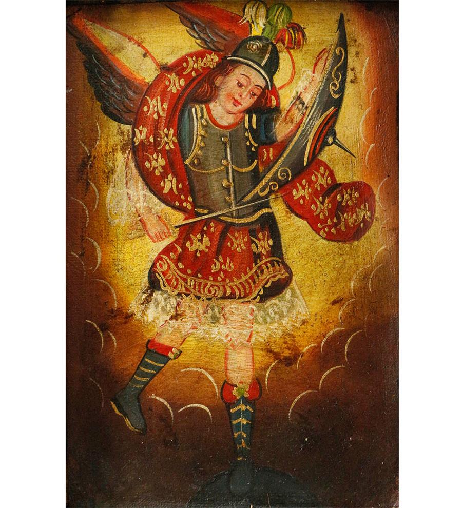 Archangel Michael Colonial Peru Art Handmade Retablo Handcarved Altarpiece (4601)