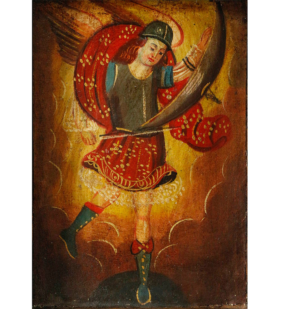 Archangel Michael Colonial Peru Art Handmade Retablo Handcarved Altarpiece (4600)