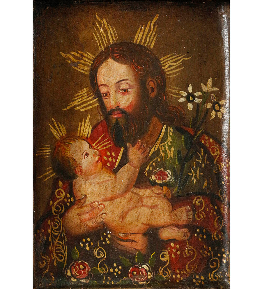 Saint Joseph and Child Colonial Peru Art Handmade Retablo Handcarved Altarpiece (4595)