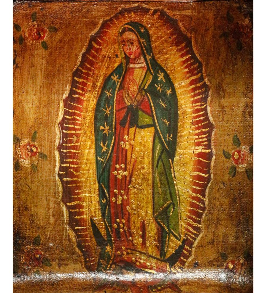 Guadalupe Virgin Colonial Peru Art Handmade Retablo Handcarved Altarpiece (4587)