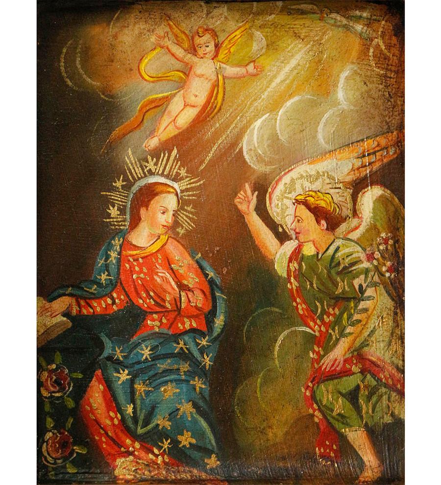 The Annunciation Colonial Peru Art Handmade Retablo Handcarved Altarpiece (4589)