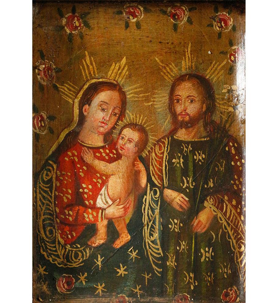 Sacred Family Colonial Peru Art Handmade Retablo Handcarved Altarpiece (4598)