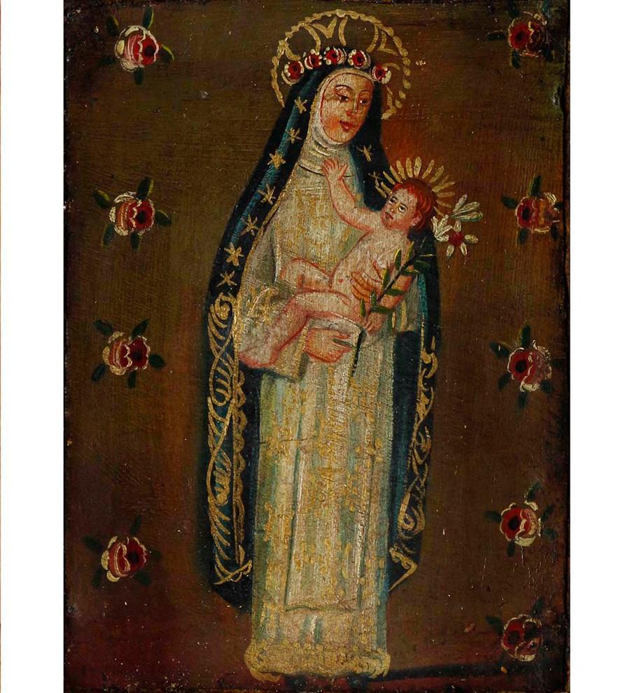 Saint Rose of Lima Colonial Cuzco Peru Handmade Retablo Folk Art Wood Altarpiece