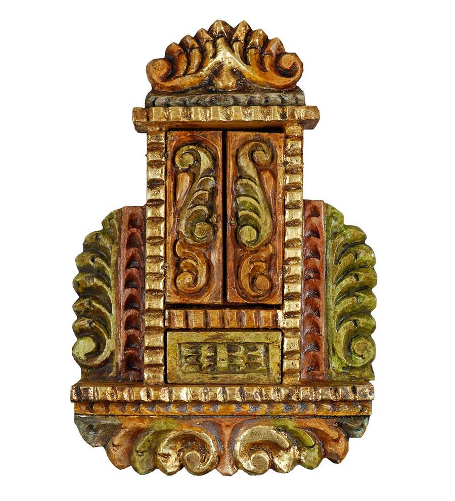 Sacred Family - Colonial Cuzco Peru Handmade Retablo Folk Art Wood Altarpiece 4673