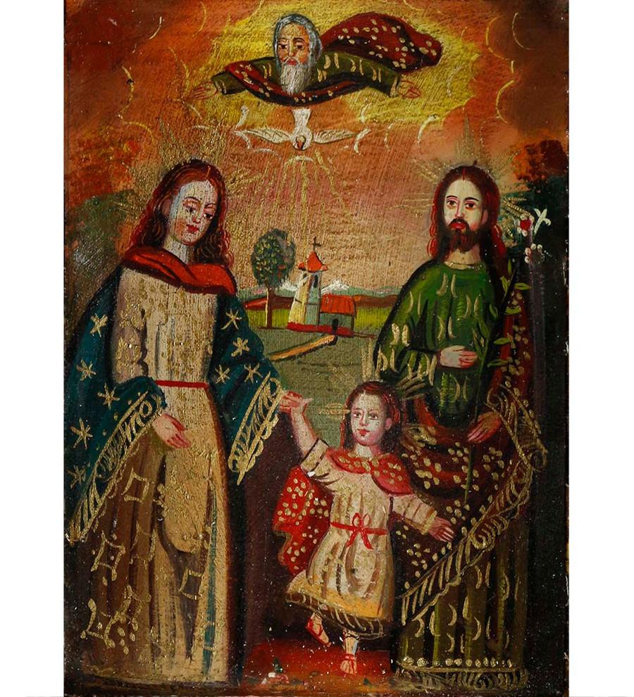 Sacred Family - Colonial Cuzco Peru Handmade Retablo Folk Art Wood Altarpiece 4674