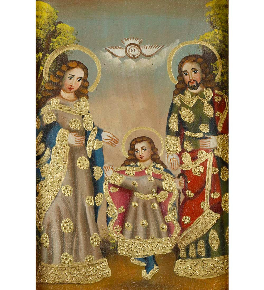 Sacred Family Framed Handcarved Colonial Cusco Peru Oil Painting On Canvas Art