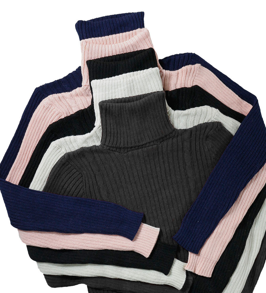 Women's Soft Baby Alpaca Blend Knitted Turtleneck Ribbed Sweater Two Braids Design