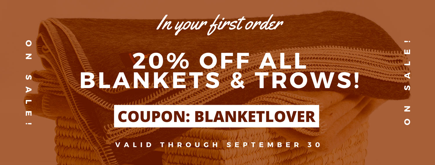 20% off All Blankets & Throws