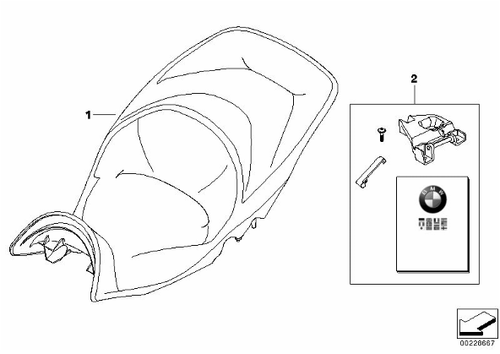BMW K 1600 GT/GTL Kit de montaje asiento una pieza