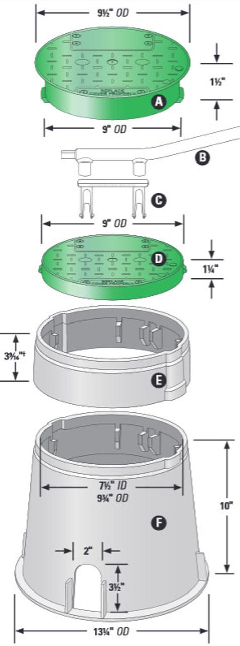 "6"" Round Econo Turf Box/Lid Assembly"
