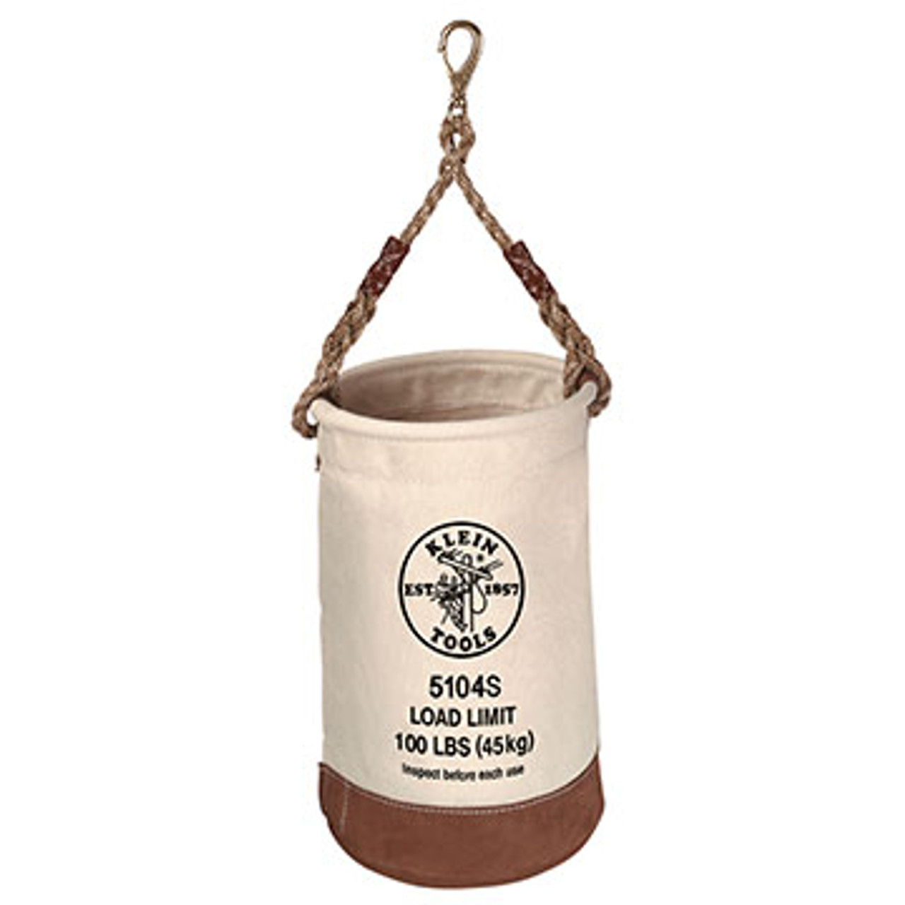 Klein 5104S Load Rated Leather-Bottom Bucket with Swivel Snap