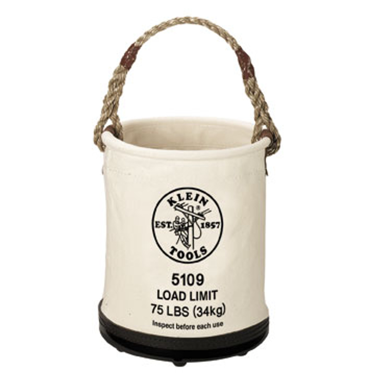 Klein 5109P Load Rated Plastic-Bottom Bucket with Pocket