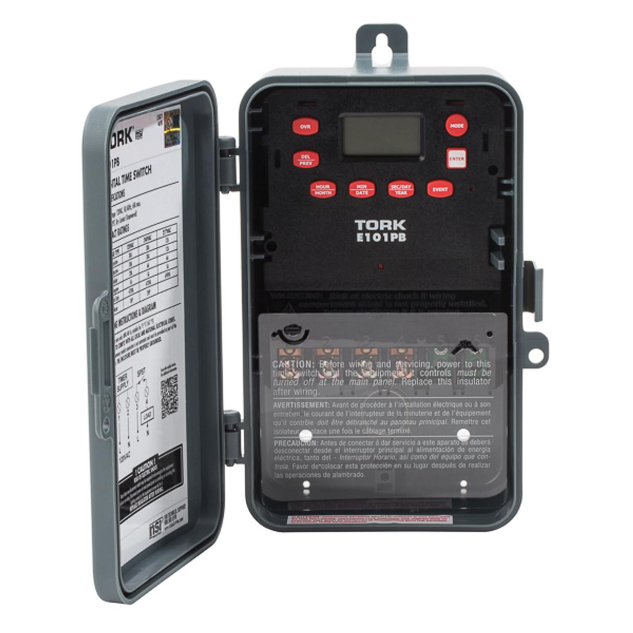 Tork E101PB 24 Hour Digital 1CH 40A 120V SPST Timer