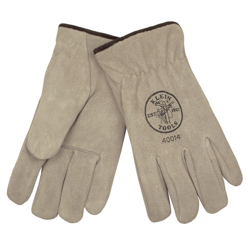 Klein 40014 Suede Cowhide Drivers Gloves Lined Large
