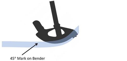bender at 45 degree mark
