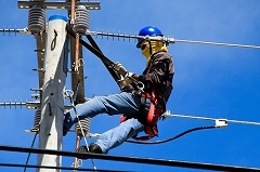 lineman working on electric