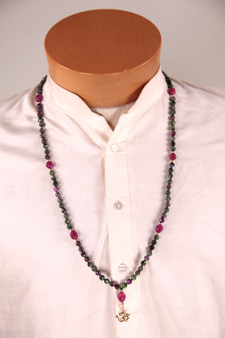 Ruby Ziosite mala with ruby counter beads