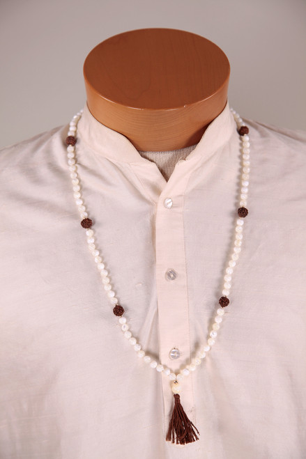 Mother of Pearl Mala with rudraksha counter beads