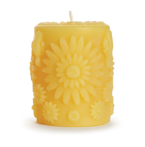 Floral Pillar Beeswax Candle